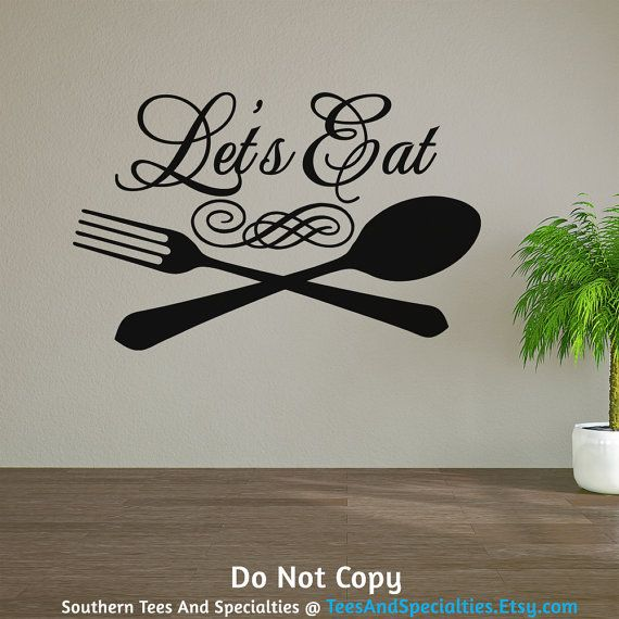 Personalized Word Art Vinyl Wall Decal Sticker Let Eat Family Dinner Table Food Kitchen Cooking