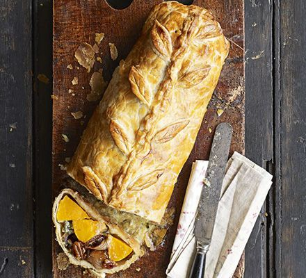 Squash & blue cheese Wellington. Butternut squash, shallots, pecans, maple syrup, balsamic vinegar, all-butter puff pastry, flour, fresh sage, Wensleydale cheese, egg.