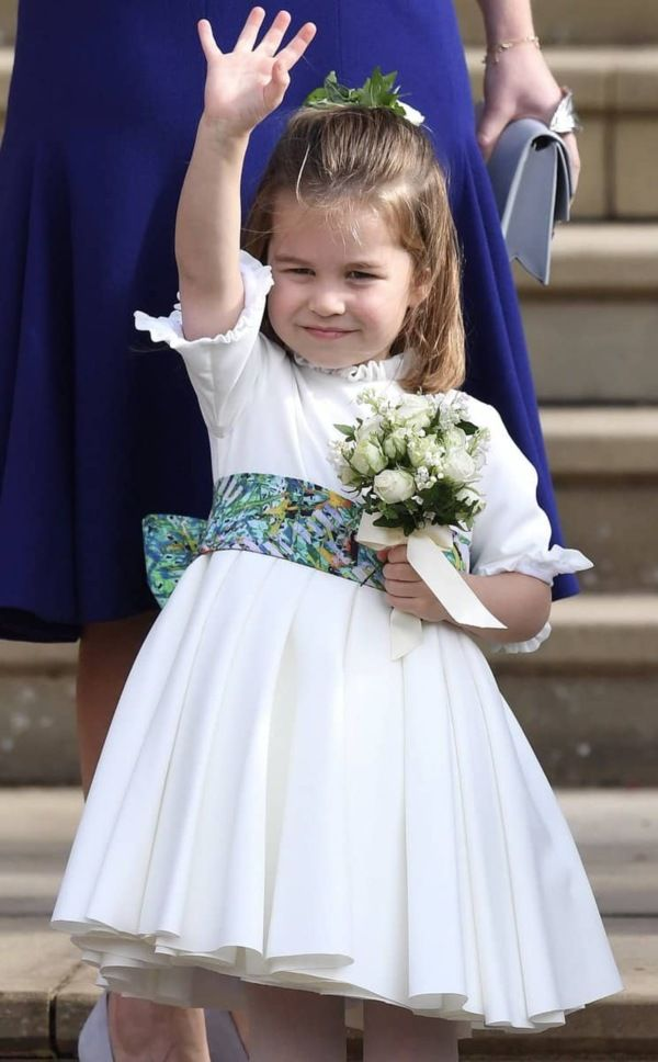 Charlotte Blew A Kiss As She And George Arrived At Princess Eugenie's Wedding