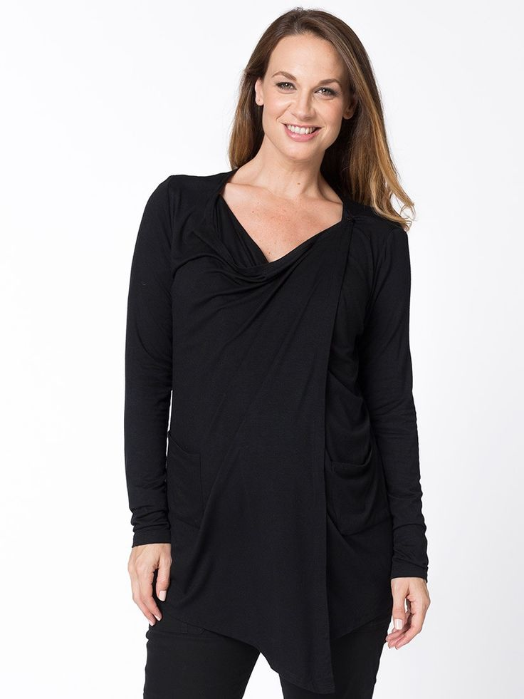 """Waterfall Drape Cardi from breastmates.co.nz -- Front panels drape softly with a flowing """"waterfall"""" effect, and add a great final layer for your outfit. This medium-weight cardigan, made from soft modal, doubles as a nursing cover or shawl over bubs."""