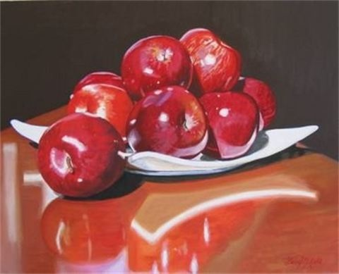 Apples : Acrylic on Canvas  450mm high x 610mm wide  SOLD