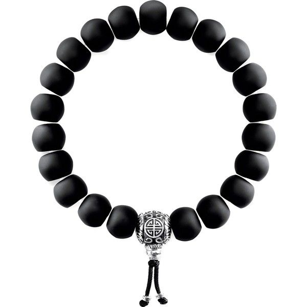 Thomas Sabo Rebel at Heart matte obsidian beaded bracelet ($170) ❤ liked on Polyvore featuring jewelry, bracelets, heart jewelry, heart-shaped jewelry, thomas sabo, beads jewellery and beaded bangles