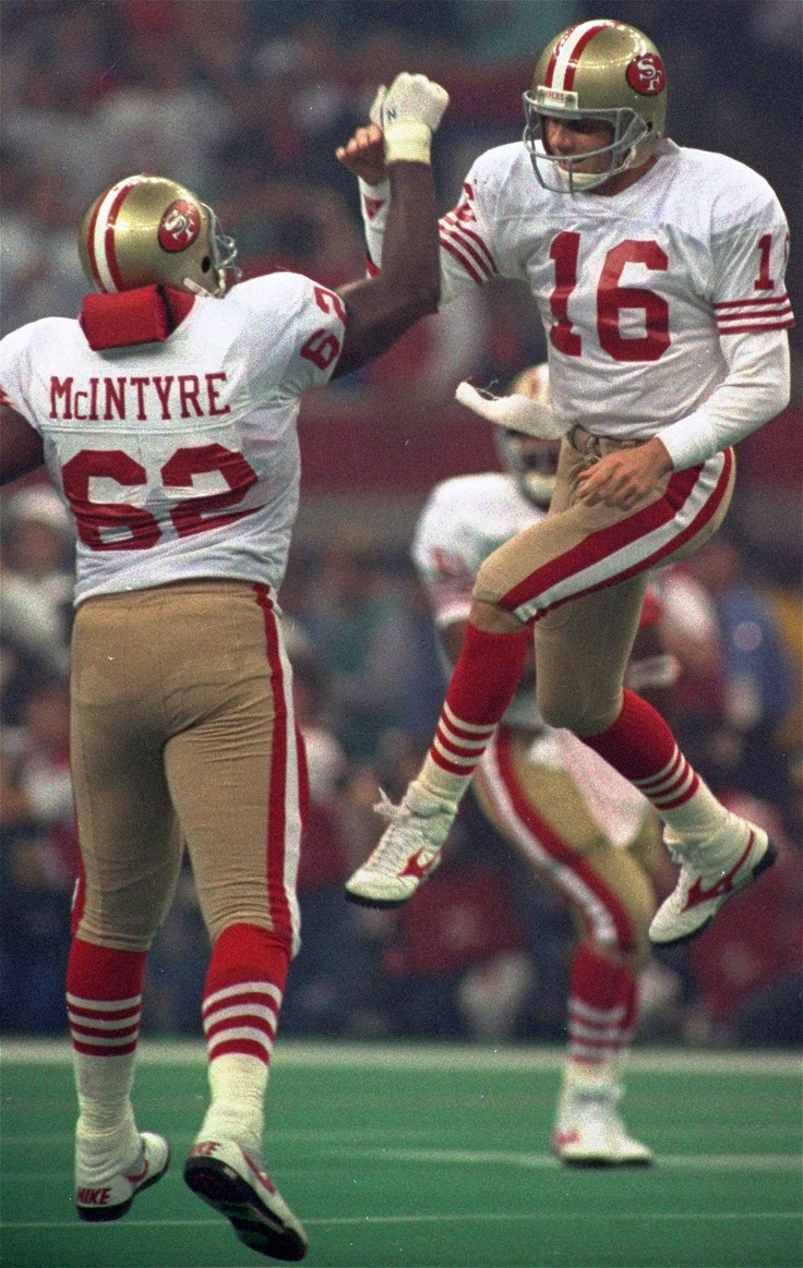 Joe Montana, walking on air, as he beats down the Denver Broncos in Super Bowl XXIV.