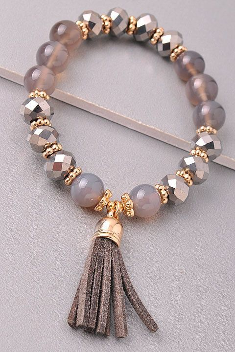 Diy Jewelry Ideas : Beaded bracelet with a tassel Stretches  one size fits most