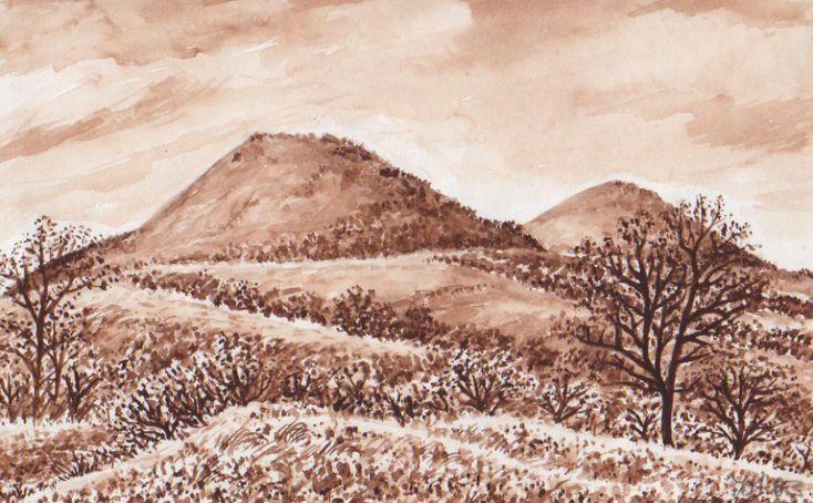 Křížové vrchy, České (Lounské) středohoří, akvarel Jana Haasová