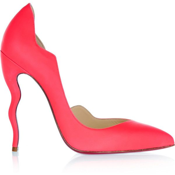 Christian Louboutin Dalida 120 neon leather pumps (€385) ❤ liked on Polyvore featuring shoes, pumps, coral, wide pumps, wide width pumps, high heel pumps, high heel shoes and neon pumps