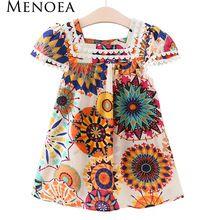 Menoea meninas vestido 2017 novo estilo meninas roupas de verão sem mangas sunflower impressão vestidos de design crianças roupas 2-7 y