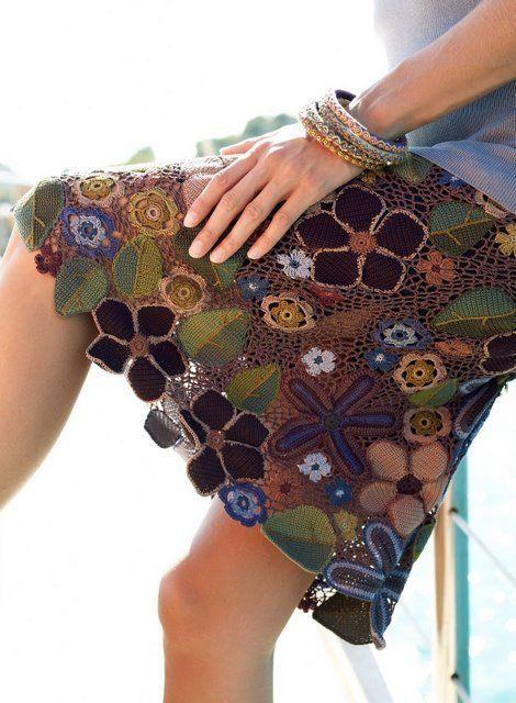 Перуанские мотивы в вязании. Юбка из цветочных мотивов описание |