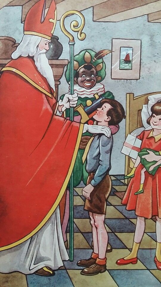 Sinterklaas met Zwarte Piet op bezoek.