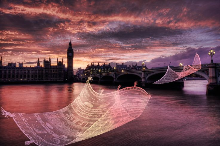 On a Magic Carpet (London) -- Surreal illustration on urban landscapes. Photo by Nicholas Goodden - London © 2010 – 2017 | Cecile Vidican. All rights reserved.