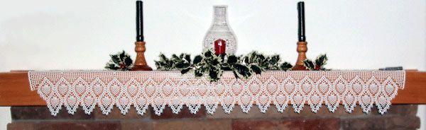 Crochet Runner or Mantle Scarf Pattern - Pineapple Snowflake Mantel Scarf Pattern