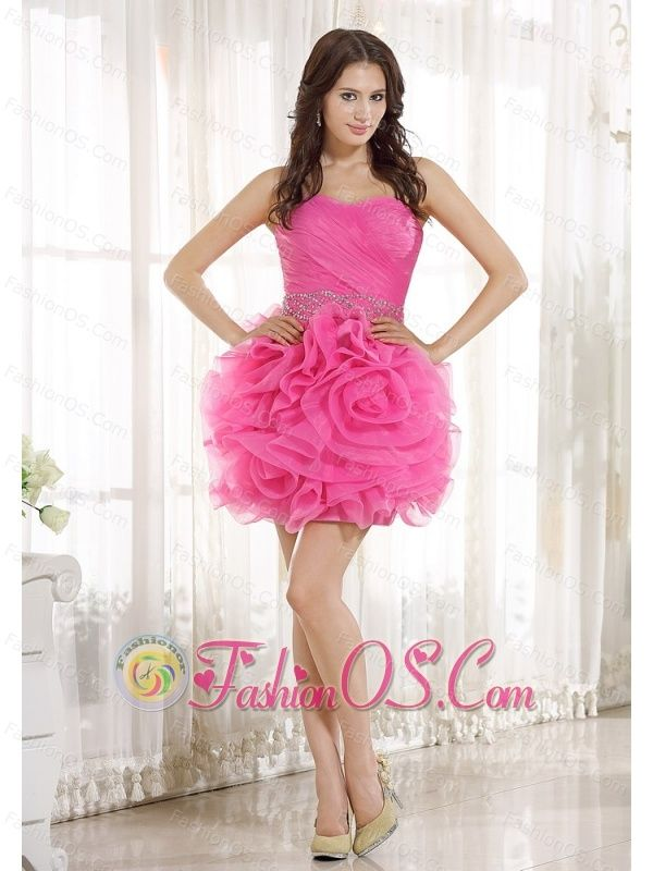 Beaded Decorate Wasit Ruch Hand Made Flower Organza Hot Pink Mini-length 2013 Prom / Homecoming Dress  http://www.fashionos.com  http://www.facebook.com/quinceaneradress.fashionos.us   There's just something about fashionable-inspired gowns that no other style can duplicate. They evoke a certain charm that you just can't find in any other newer styles. This strapless bodice topped off by refined sweetheart neckline is accented by cross over soft pleatings.