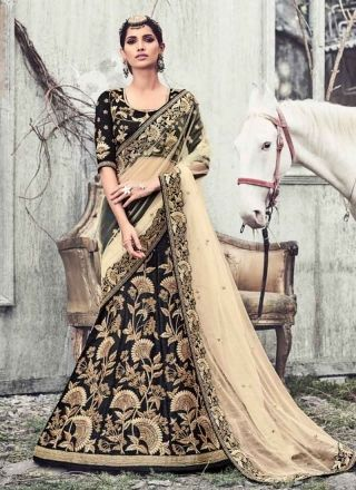 Blooming Black Beige Embroidery Stone Work Raw Silk Lehenga Sarees http://www.angelnx.com/Sarees/Bridal-Sarees