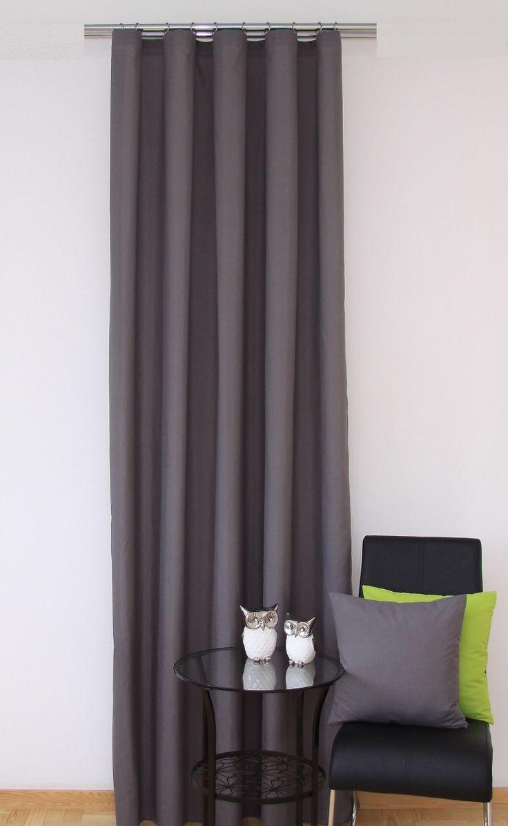 Luxusní hotový závěs na okno v šedé barvě