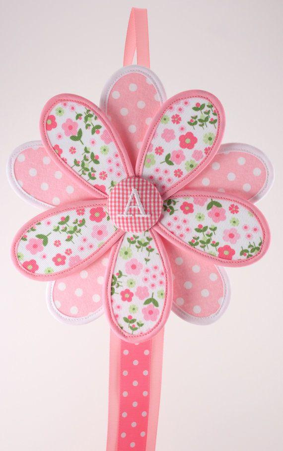 Hair Bow Holder Hair Clip Holder Pink Fabric Flower by GirlieQs, $24.00