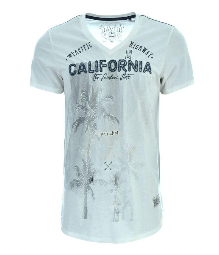 Camp David Herren Men T-shirt California White Size: M, XL