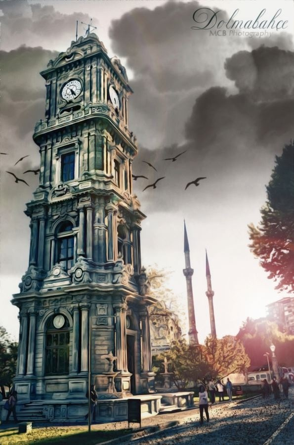 The Clock Tower of the amazing Dolmabahce Palace, last great Ottoman Palace, regal and resplendent along a long stretch of the Bosphorus which splits Istanbul into European and Asian sides. The Founder of the Republic, Mustafa Kemal Ataturk, passed away there in November 1938 . All clocks in the Palace are stopped at his time of death .