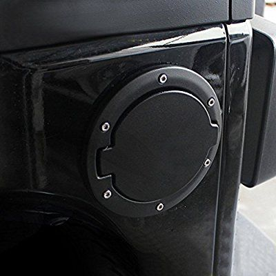 Black Powder Coated Steel Gas Fuel Tank Cap Cover for Jeep Wrangler JK JKU Unlimited Rubicon Sahara X Off Road Sport Exterior Accessories Parts 2007 2008 2009 2010 2011 2012 2013 2014 2015 2016 2017
