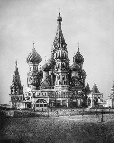 Cathedral of Vasily the Blessed Собор Василия Блаженного, Sobor Vasiliya Blazhennogo. Commonly known as Saint Basil's Cathedral,is a church in the Red Square in Moscow, Russia.Photo from.the early 1900s.