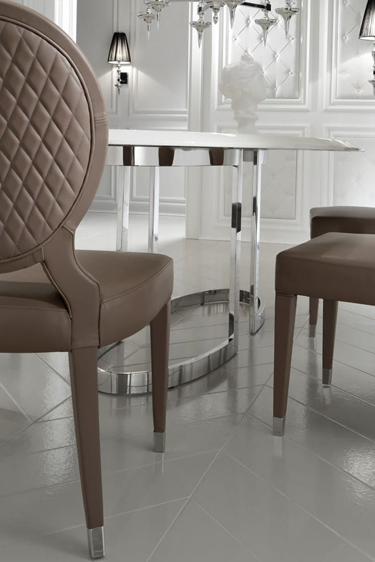 High End Oval Designer Dining Table Set In 2020 Leather Dining