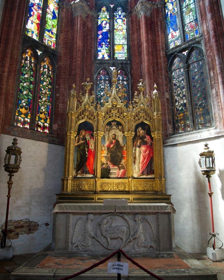 Altar Triptych St. Mark Enthroned by Bartolommeo Vivarini Basilica dei Frari Venice Italy