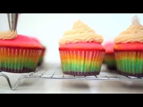 Regenboog cupcakes - YouTube