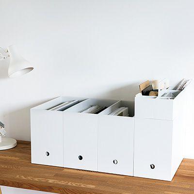 ポリプロピレンファイルボックス・スタンダードタイプ・ワイド・A4用ホワイトグレー 約幅15×奥行32×高さ24cm | 無印良品ネットストア