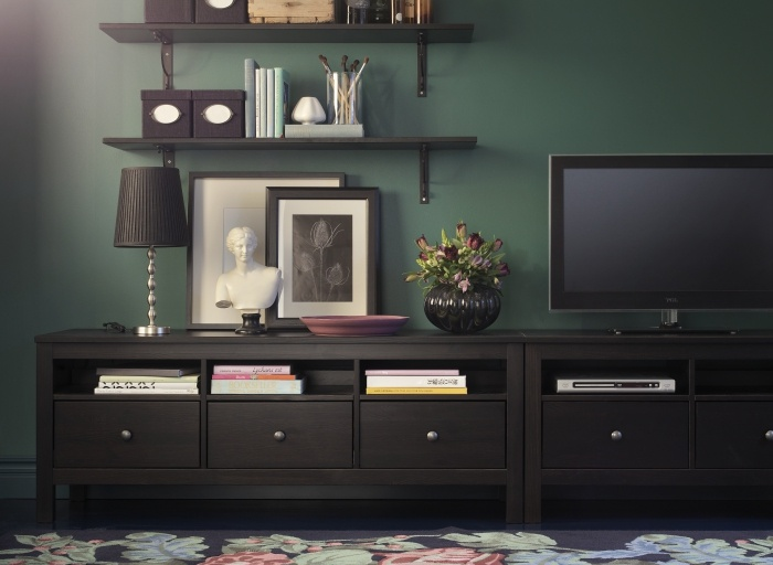 HEMNES TV benches put side-by-side, create lots of low storage. Designer: Carina Bengs