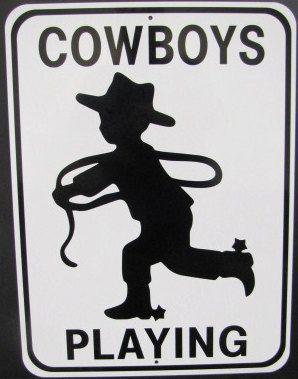 "Large Aluminum ""Cowboy Playing"" Sign"