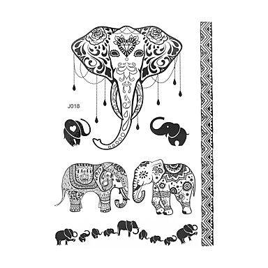 1pc Black Waterproof Tattoo Lace Sexy Woman Elephant Body Art Temporary Henna…