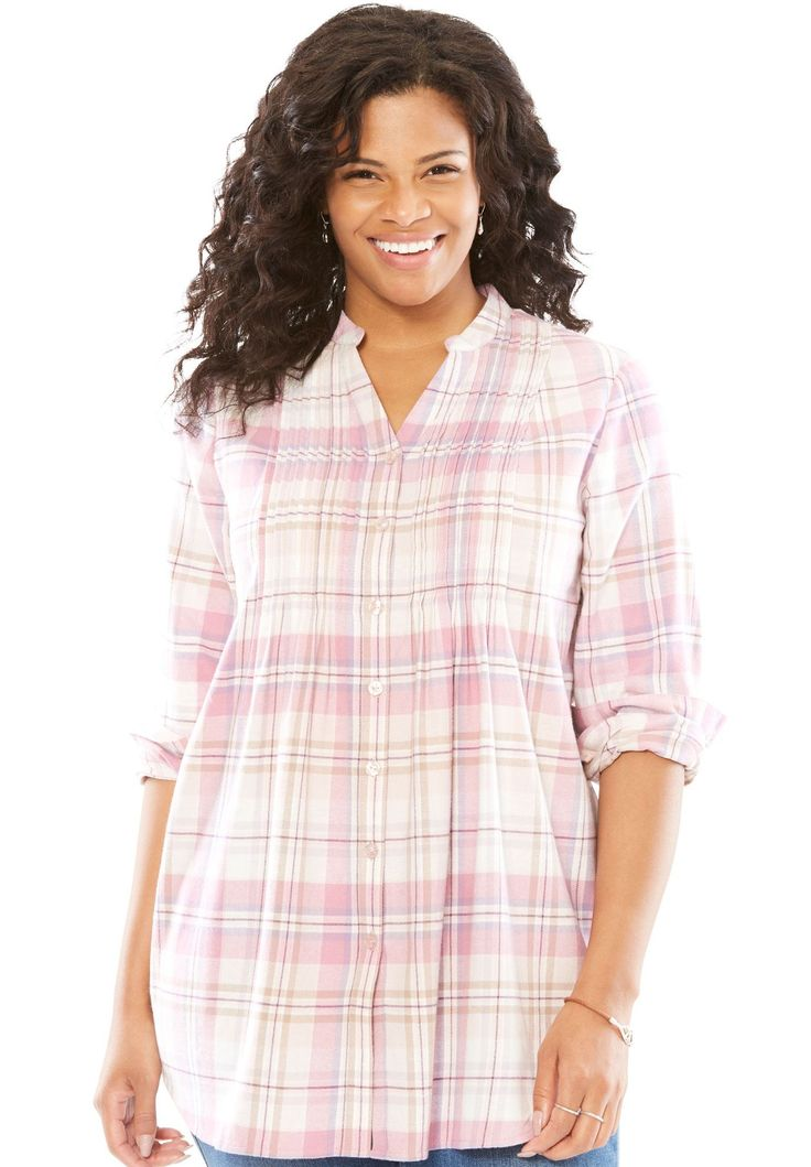 Pintuck flannel bigshirt - Women's Plus Size Clothing