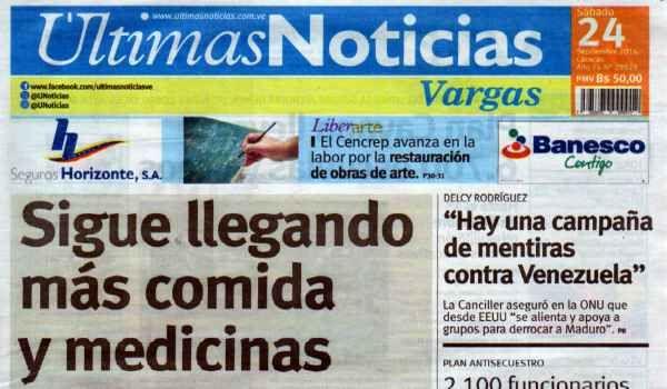 Últimas Noticias Vargas sábado 24 septiembre  de  2016