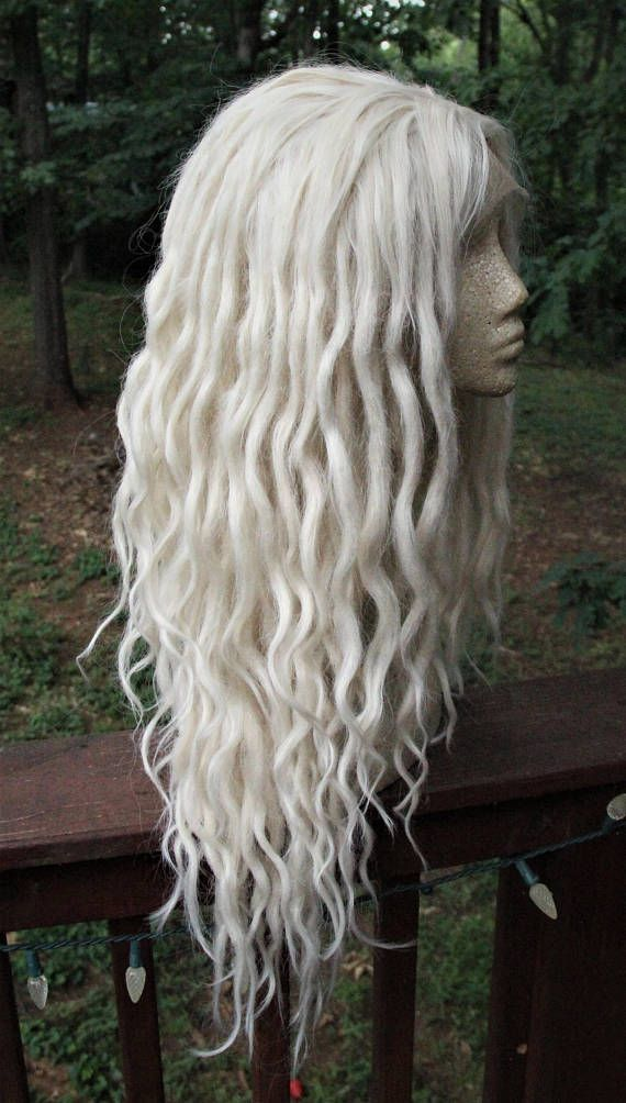 White Blonde Lace Front Synthetic Dreadlock Wig Platinum