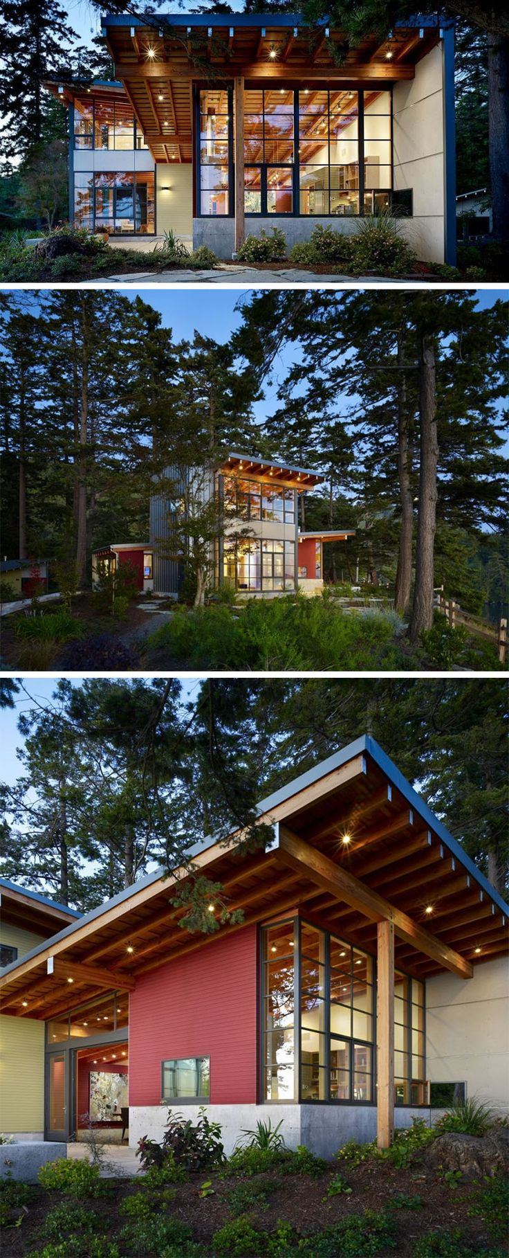 20 Awesome Examples Of Pacific Northwest Architecture // A wood beam structure, visible concrete foundation, and huge windows give this forest home a very west coast feel.