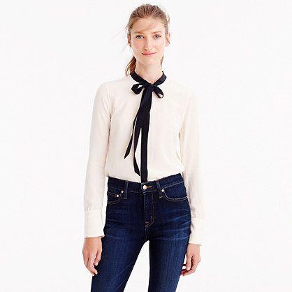 J.Crew+-+Contrast+tie-front+silk+top