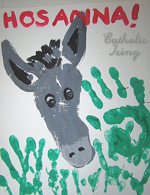 Palm Sunday footprint donkeys and handprint palms