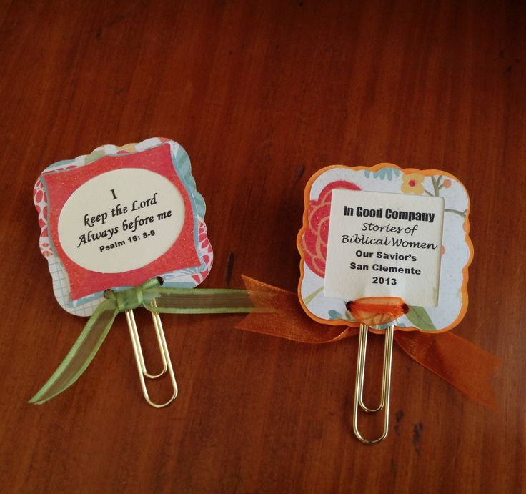 Book marks for Bible Study event favors.  Elegant edges