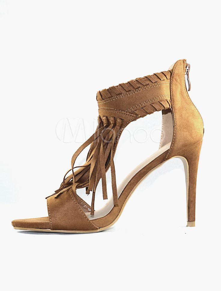 Sandali da donna con tacchi alti, T cinturino e frange