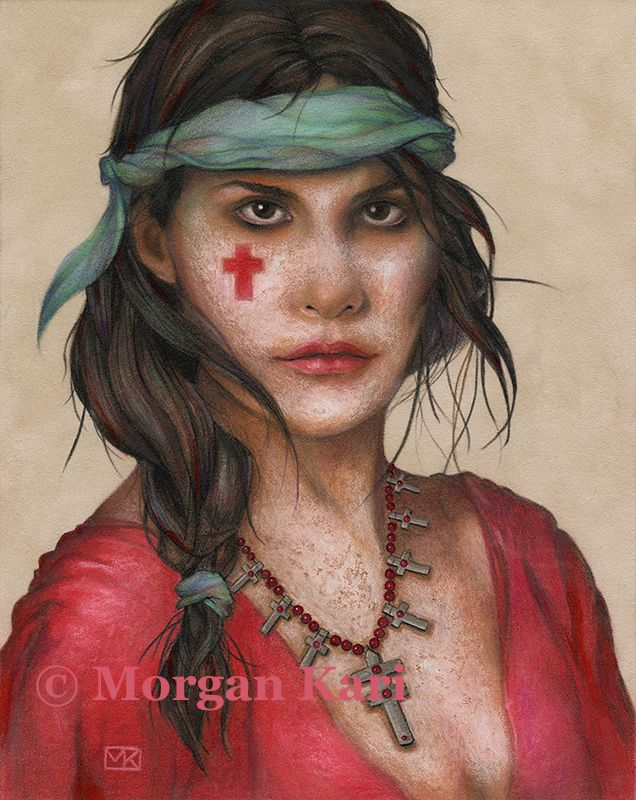 """CROSS BABE / by Morgan Alexandra Kari / 8"""" x 10"""" original Colored Pencil on Suede mat board / 8"""" x 10"""" quality Giclee print available for $40 plus shipping and handling"""