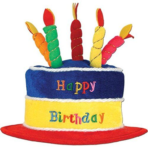 Plush Birthday Cake Hat Party Accessory (1 Count) (1/pkg) Pkg/3