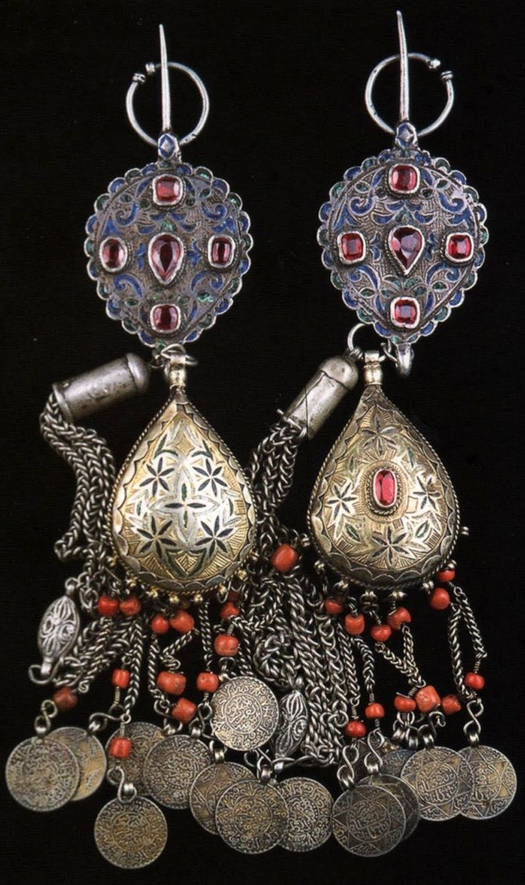 ledecorquejadore:  Morocco | Pair fibulae; silver, enamel, silver gilt, coral, old coins and glass paste.