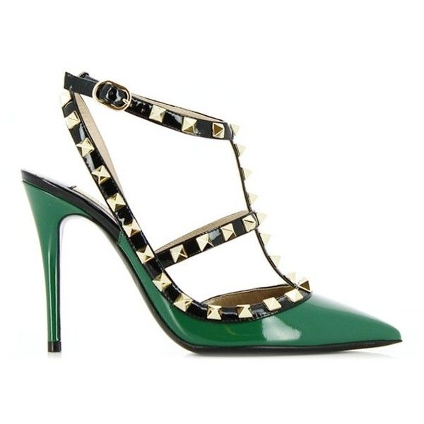 Valentino Rockstud Heeled Sandals (1.920 RON) ❤ liked on Polyvore featuring shoes, sandals, heels, high heels, pumps, ankle strap high heel sandals, studded sandals, patent shoes, valentino shoes and heeled sandals