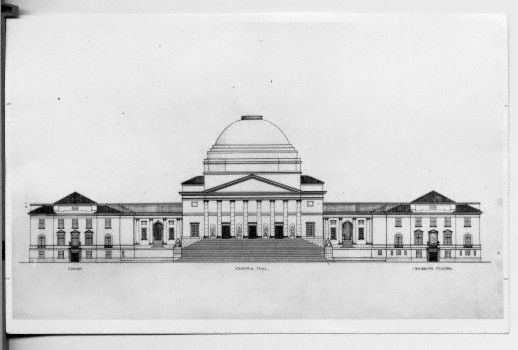 Architectural line drawing of Jameson Hall, University of Cape Town as conceived by Groote Schuur's first architect, J.M. Solomon (Elliot Collection). From the collection, UCT through the years: 1900-present.
