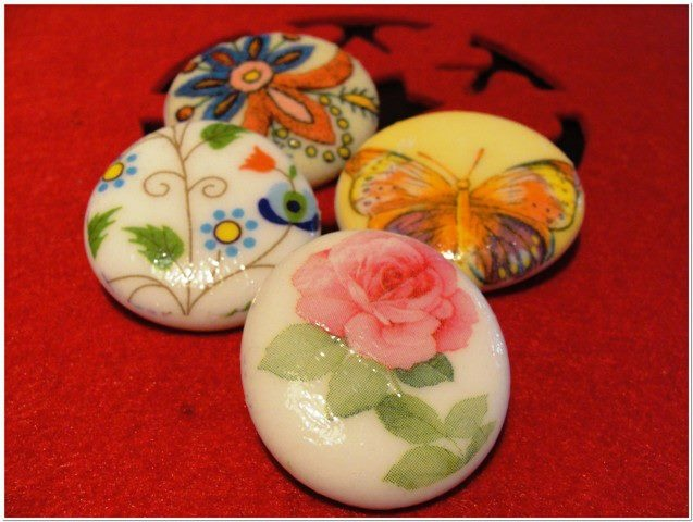 decoupaged folky brooches