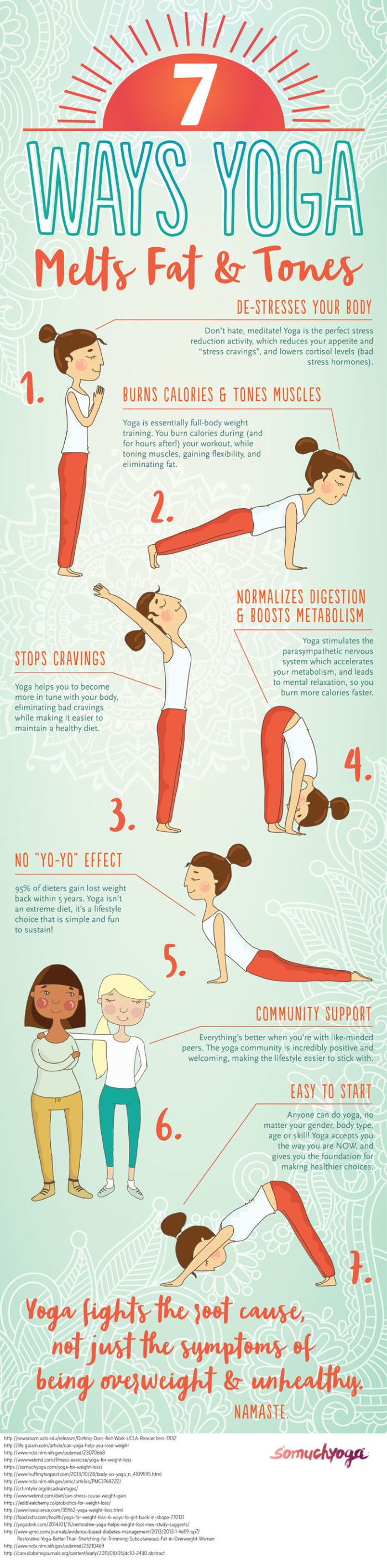 Yoga is a known stress buster. It's one of the most effective workouts for fighting stubborn fat stores. Yes, YOU CAN USE YOGA FOR WEIGHT LOSS! Here are 7 ways yoga can help you lose weight. Start now to see weight loss results while firming up your arms, legs, butt and