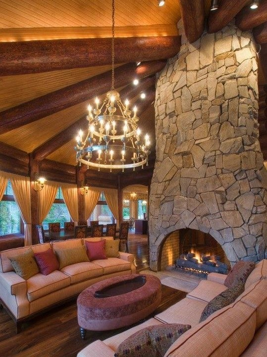 I love fireplaces... I love chandeliers... enough said