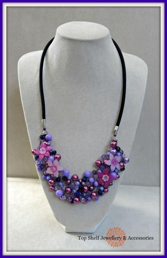 Crochet Rose and Lilac Flower Bib Necklace by Top Shelf Jewellery & Accessories