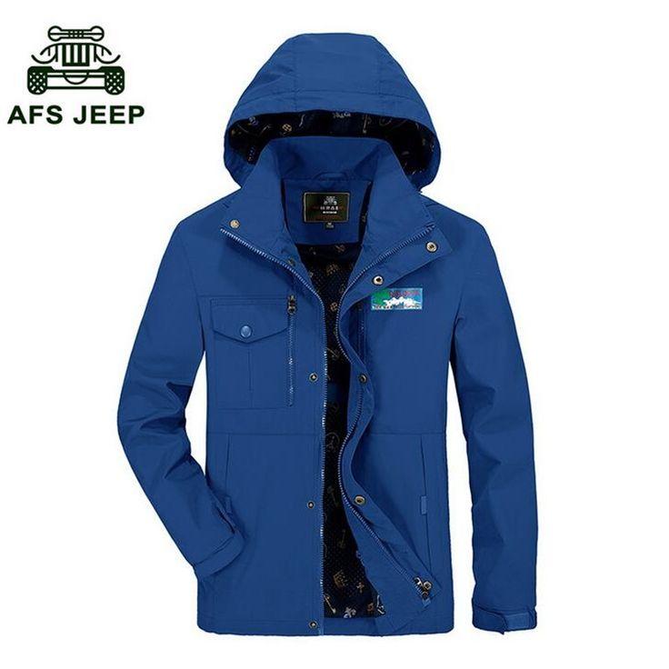 AFS JEEP Summer Single Layer Men's Waterproof Jackets,Sky Blue Fashion Design Detachable Hat Solid Brand Windbreak Coat
