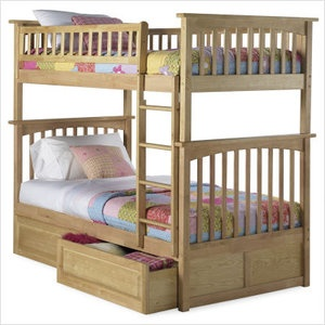 columbia twin over twin bunk bed with trundle bed natural maple