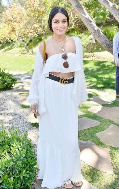 Vaness Hudgens $189 Endless Summer White Matching Two Piece Co-Ord Set Ruffled Tube Crop Top And High Waisted Maxi Skirt All White Everything Outfit Summer Spring Celebrity Style
